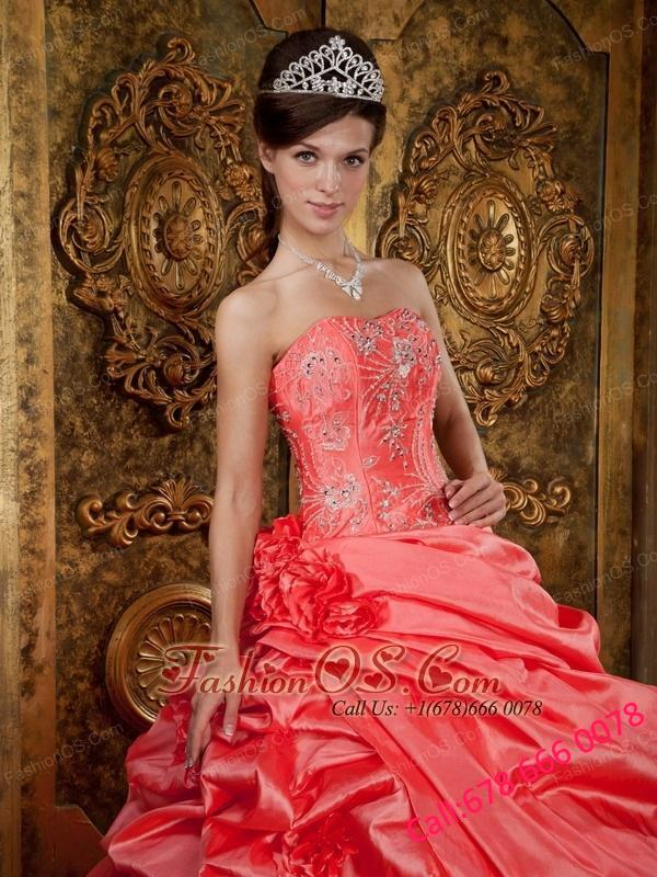 Discount Watermelon Quinceanera Dress Strapless Taffeta Beading Ball Gown