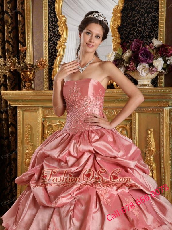Discount Watermelon Red Quinceanera Dress Strapless Taffeta Beading Ball Gown