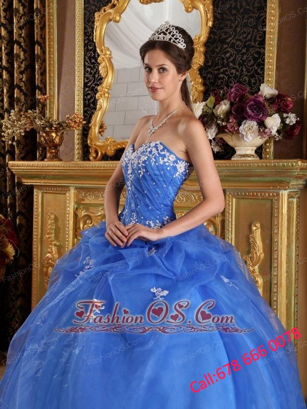 Elegant Blue Quinceanera Dress Sweetheart Organza Appliques Ball Gown