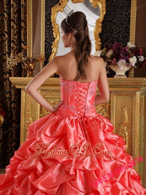 Elegant Orange Red Quinceanera Dress Sweetheart Taffeta Emboridery and Beading Ball Gown
