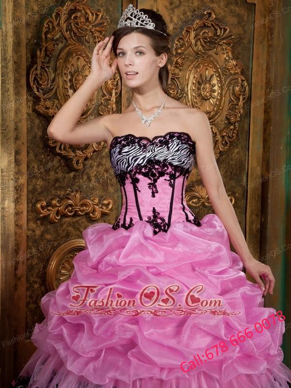 3c6d493b1248 Elegant Rose Pink Quinceanera Dress Strapless Picks-Up Organza and Zebra  Ball Gown