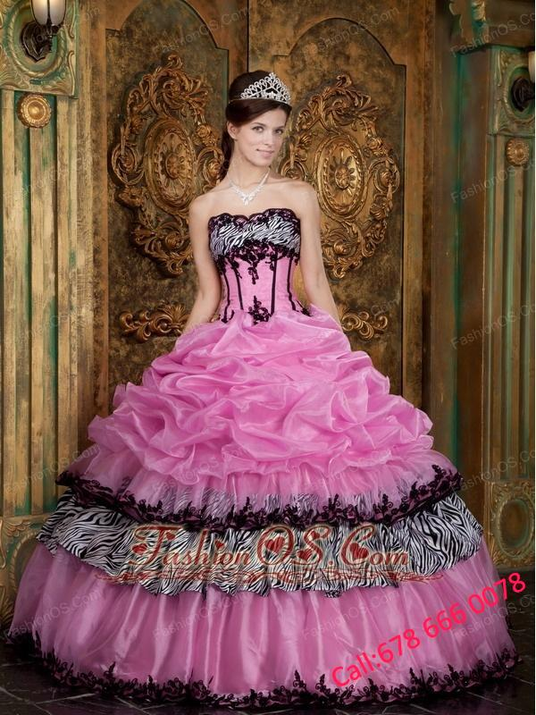 Elegant Rose Pink Quinceanera Dress Strapless Picks-Up Organza and Zebra Ball Gown