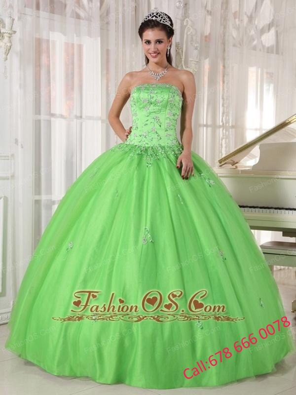 Elegant Spring Green Quinceanera Dress Strapless Taffeta and Tulle Appliques Ball Gown