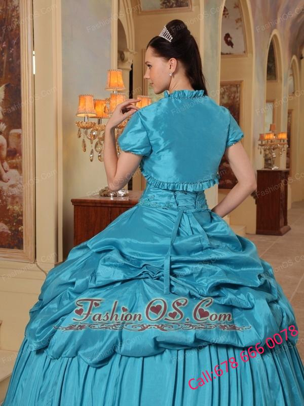 Elegant Teal Quinceanera Dress Sweetheart Taffeta Beading Ball Gown