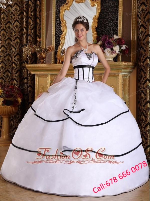 Elegant White Quinceanera Dress Strapless Satin and Organza ...