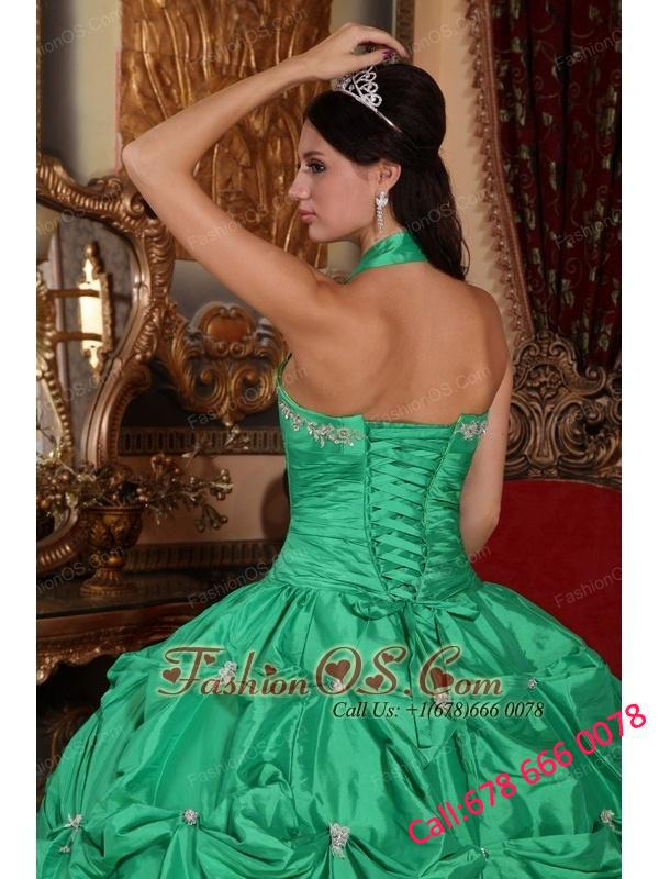 Exclusive Apple Green Quinceanera Dress Halter Top Taffeta Appliques Ball Gown