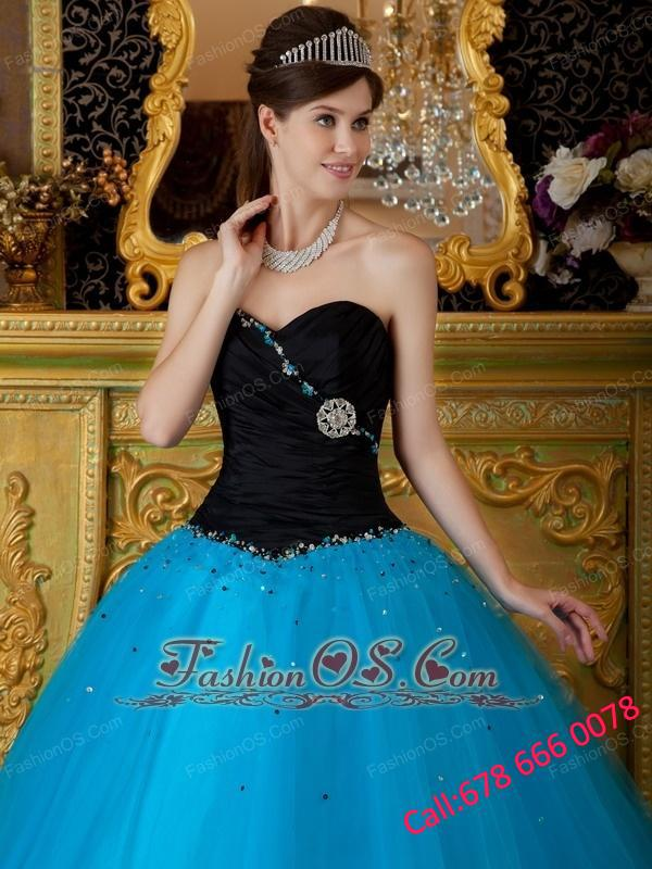 Exquisite Teal Quinceanera Dress Sweetheart Beading Tulle Ball Gown