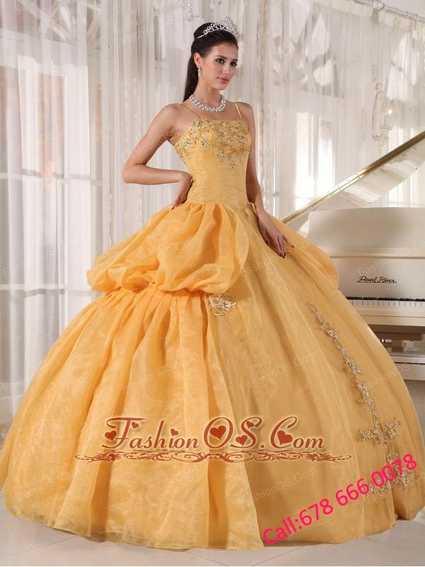 Exquisite Gold Quinceanera Dress Spaghetti Straps Taffeta and Organza Appliques Ball Gown