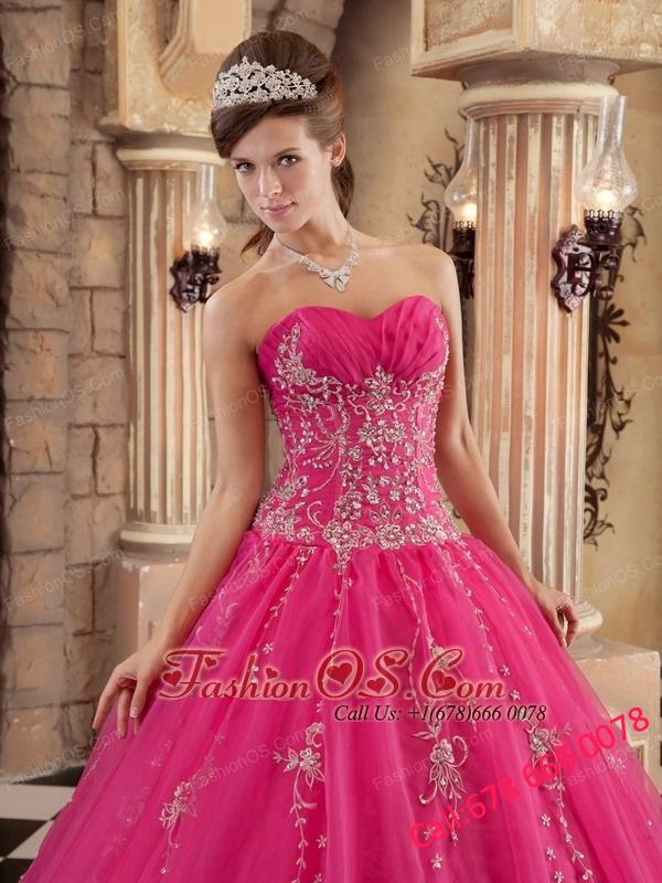 Exquisite Hot Pink Quinceanera Dress Organza   Beading Ball Gown