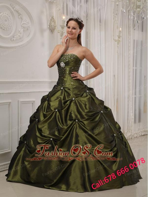 Exquisite Olive Green Quinceanera Dress Strapless Taffeta and Satin Beading Ball Gown
