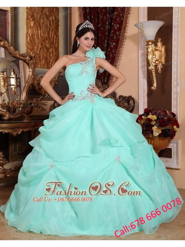 Fashionable Apple Green Quinceanera Dress One Shoulder Organza Appliques Ball Gown