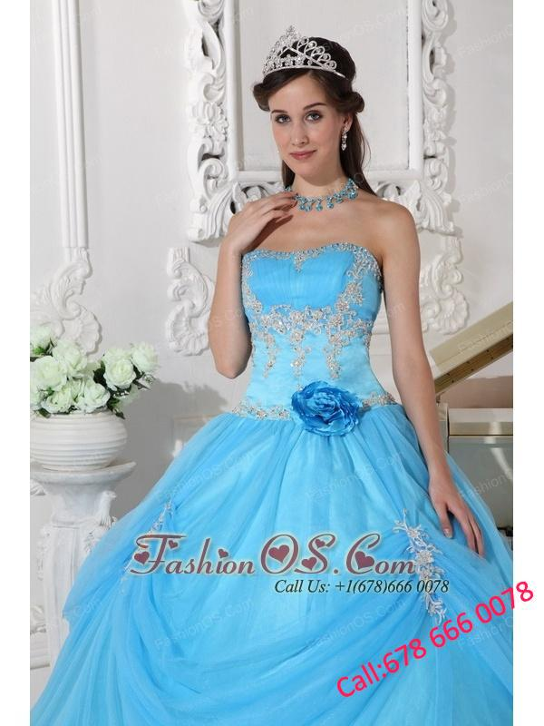 Fashionable Aqua Blue Quinceanera Dress Strapless Taffeta and Organza Appliques and Hand Made Flower Ball Gown