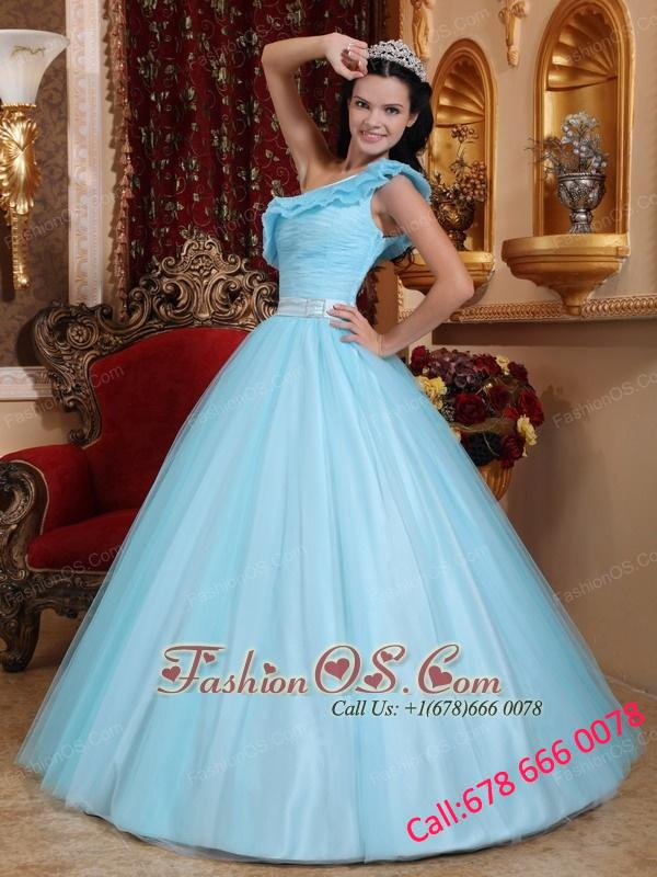 Fashionable Light Blue Quinceanera Dress One Shoulder Tulle Ruch  A-line