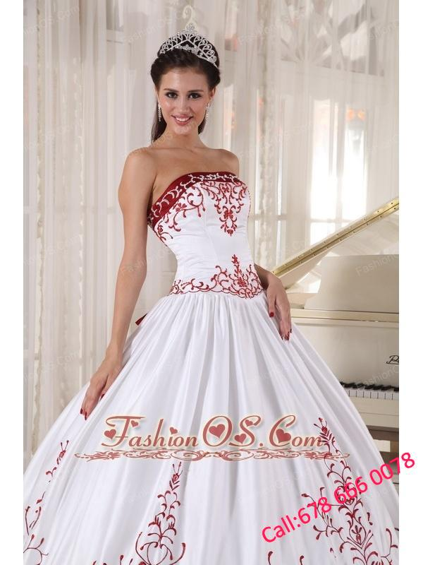 Formal White And Wine Red Quinceanera Dress Strapless Satin Embroidery Ball Gown