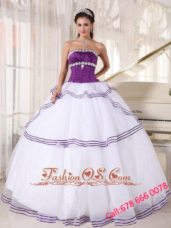 Gorgeous White and Purple Quinceanera Dress Strapless Floor-length Organza Appliques Ball Gown