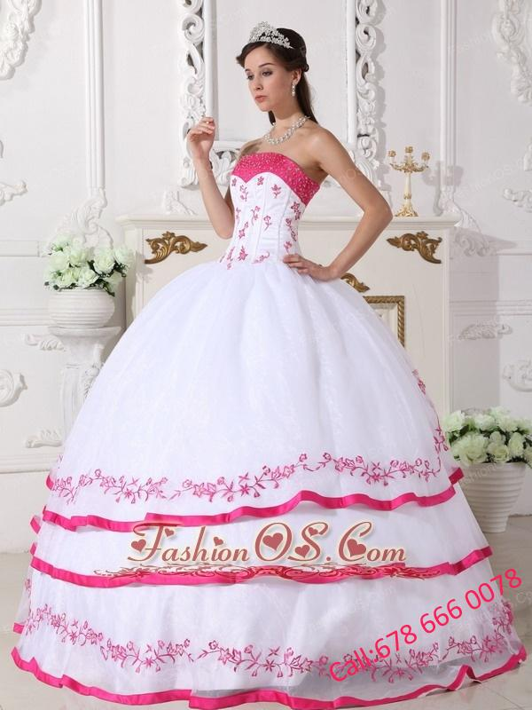 White and Hot Pink Quinceanera Dress Strapless Organza Beading and Embroidery Ball Gown
