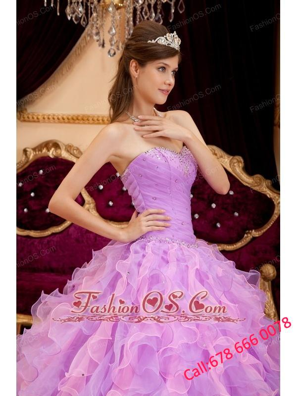 Inexpensive Lavender Quinceanera Dress Sweetheart Organza Beading Ball Gown