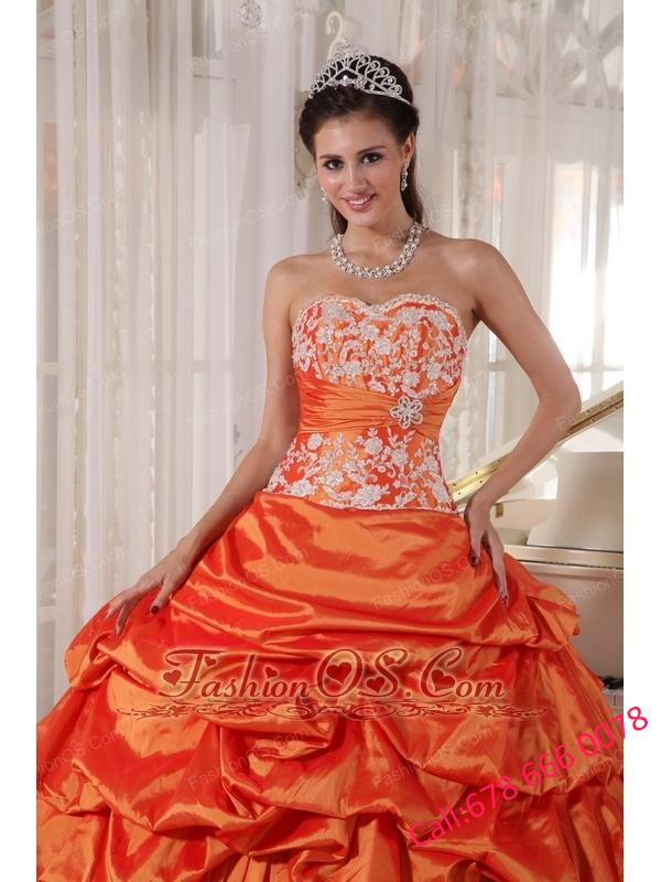 Inexpensive Orange Quinceanera Dress Sweetheart Taffeta Appliques and Ruch Ball Gown