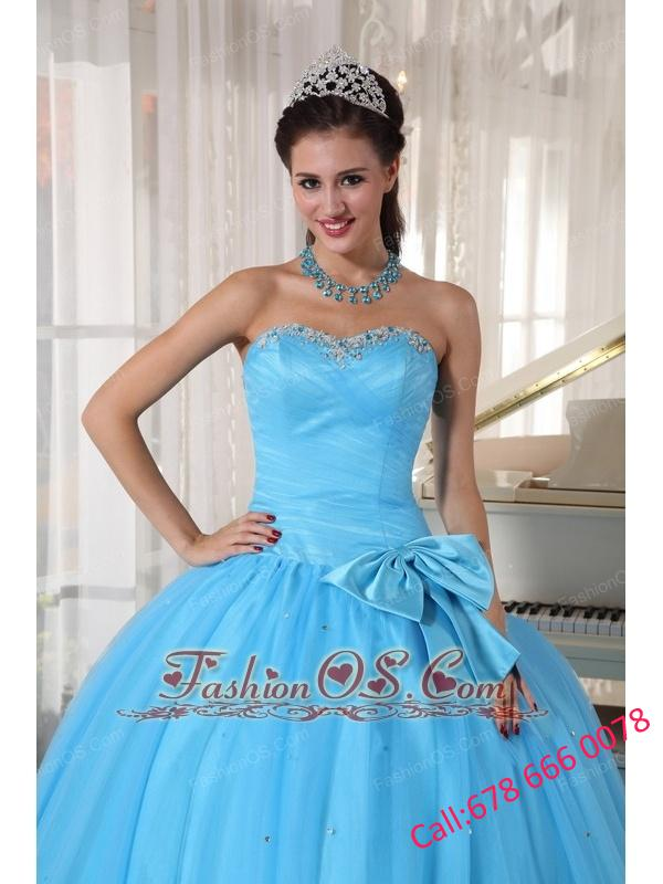 Informal Aqua Blue Quinceanera Dress Sweetheart Tulle Beading and Bowknot Ball Gown