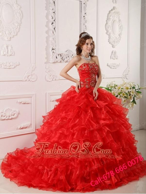 Informal Red Quinceanera Dress Strapless Organza Ruffles and Embroidery Ball Gown
