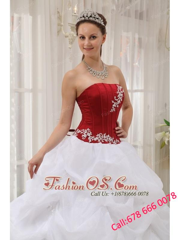 Informal White and Wine Red Quinceanera Dress Strapless Taffeta and Organza Appliques Ball Gown