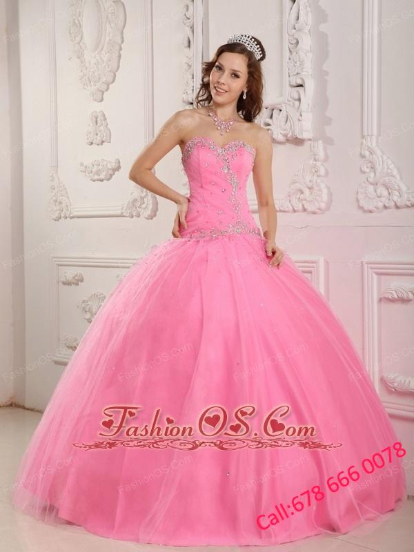 Lovely Rose Pink Quinceanera Dress Sweetheart Tulle Appliques Ball Gown