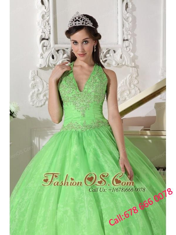 Lovely Spring Green Quinceanera Dress Halter Taffeta and Organza Appliques Ball Gown