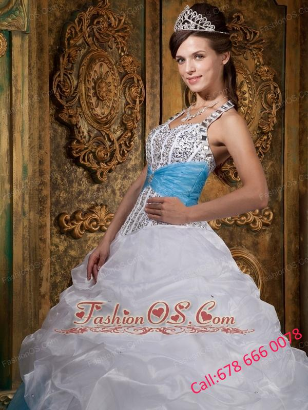 Lovely White and Baby Blue Quinceanera Dress Halter Beading A-line ...