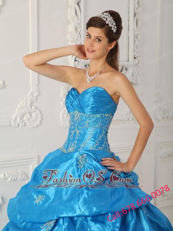 Low Price Aqua Blue Quinceanera Dress Sweetheart Taffeta Appliques Ball Gown