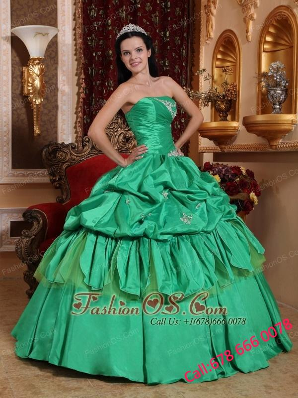 Low Price Apple Green Quinceanera Dress Strapless Taffeta Appliques Ball Gown
