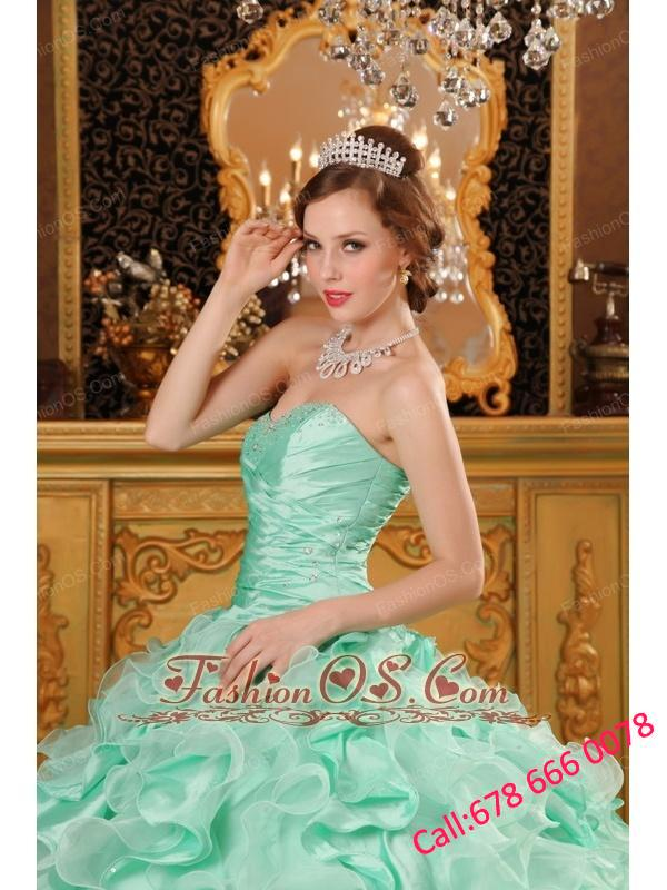 Luxurious Apple Green Quinceanera Dress Sweetheart Ruffles Organza And Taffeta  Ball Gown
