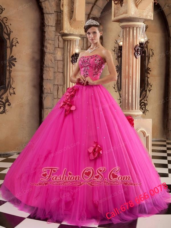 Luxurious Hot Pink Quinceanera Dress Strapless Satin and Tulle Beading Ball Gown