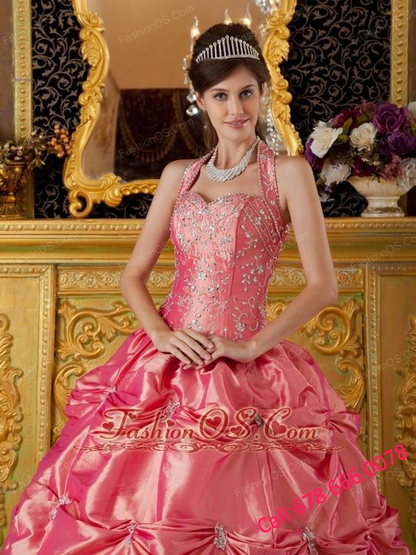Luxuriously Waltermelon Quinceanera Dress Halter Tafftea Appliques Ball Gown