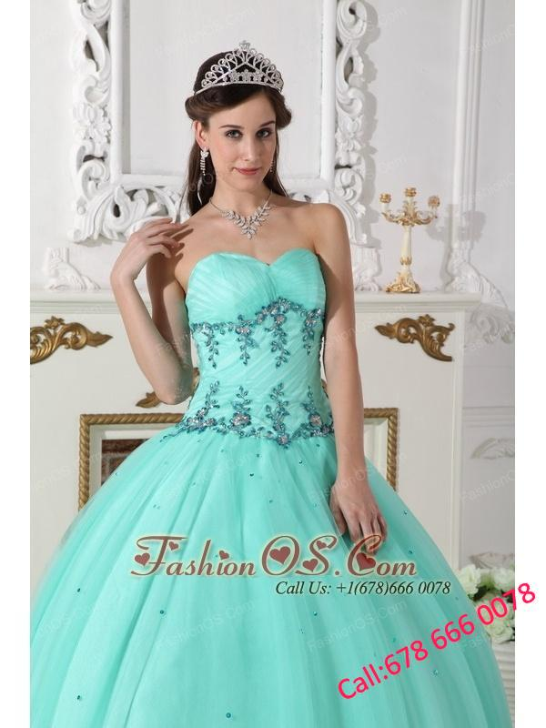 Modern Turquoise Quinceanera Dress Sweetheart Tulle and Taffeta Beading Ball Gown