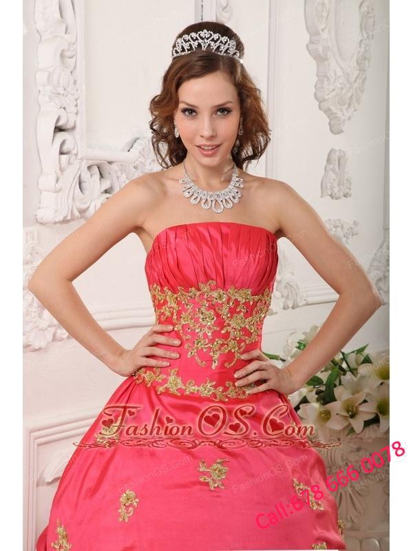 2330bdb01da Modern Red Quinceanera Dress Strapless Taffeta Beading and Appliques A-line