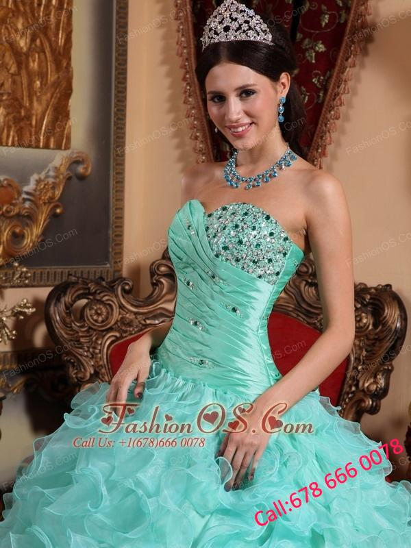 Modest Apple Green Quinceanera Dress Sweetheart  Organza Beading and Ruffles Ball Gown