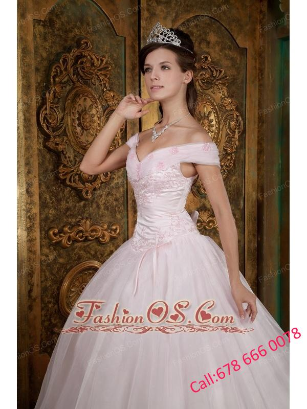 Modest Light Pink Quinceanera Dress Off The Shoulder Appliques Organza Ball Gown