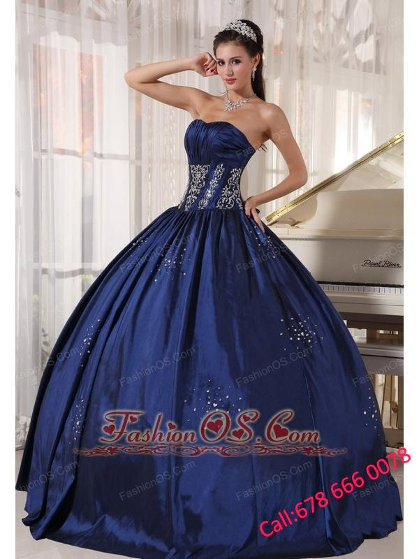 Modest Navy Quinceanera Dress Strapless Taffeta Embroidery and Beading Ball Gown