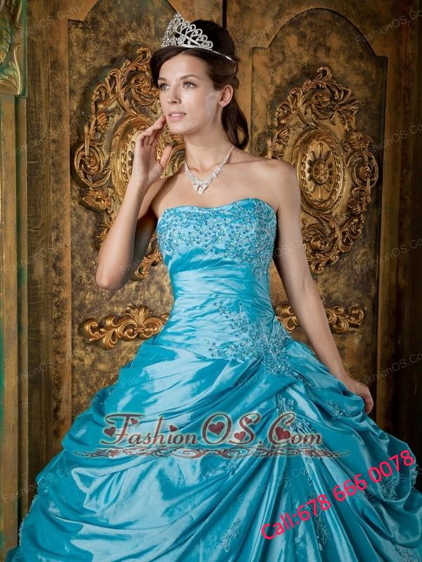 Modest Teal Quinceanera Dress Strapless Taffeta Appliques Ball Gown