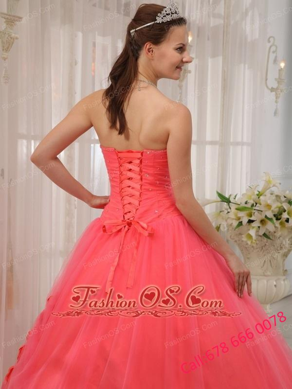 Modest Watermelon Red Sweetheart Tulle Beading Quinceanera Dress Ball Gown