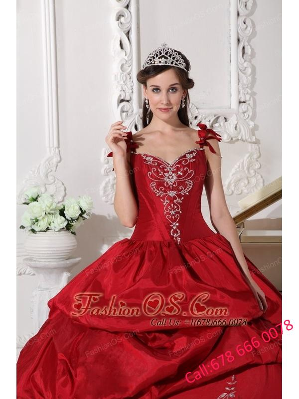 fb98c0b6ce Modest Wine Red Quinceanera Dress Straps Floor-length Taffeta Embroidery  Ball Gown