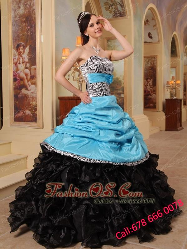 New Aqua Blue and Black Quinceanera Dress Sweetheart Ruffles Taffeta and Organza Ball Gown