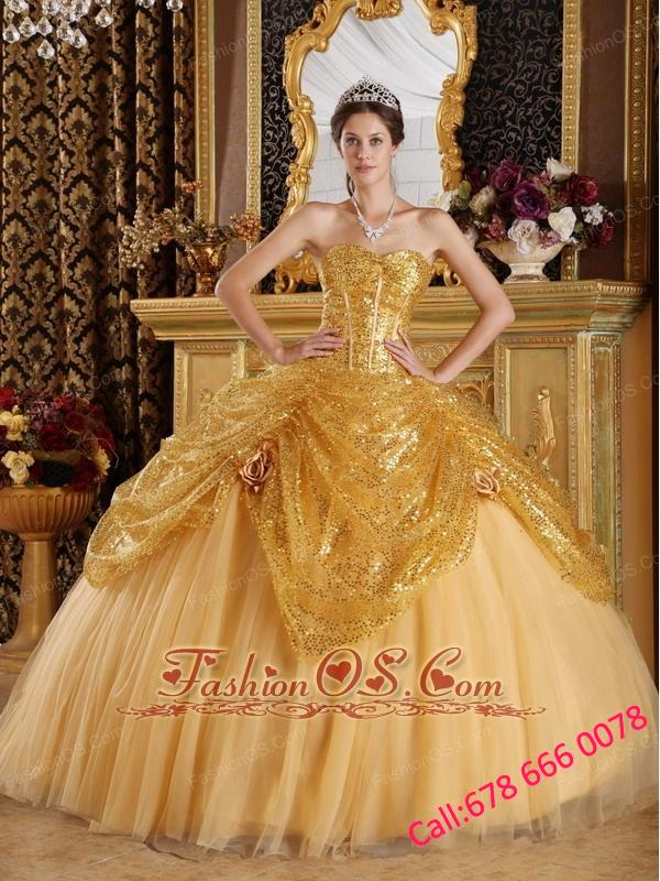 New Gold Quinceanera Dress Sweetheart Sequined and Tulle Handle Flowers Ball Gown