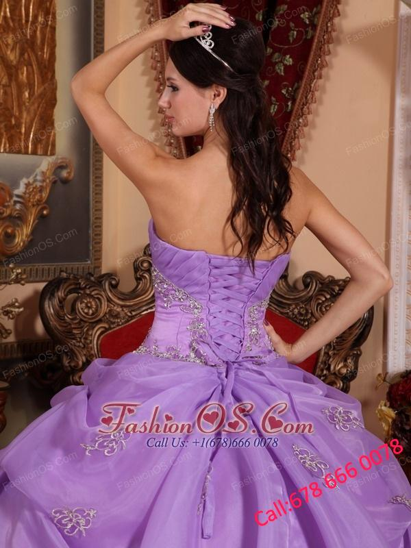 New Lavender Quinceanera Dress Strapless Organza Beading Ball Gown