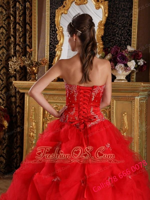 New Red Quinceanera Dress Strapless Pick-ups Tulle Ball Gown