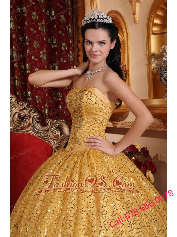 Perfect Gold Quinceanera Dress Sweetheart Sequin Fabric Beading Ball Gown