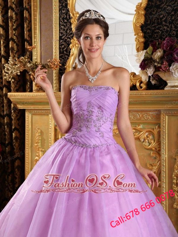 Perfect Lavender Quinceanera Dress Strapless Appliques Organza Ball Gown