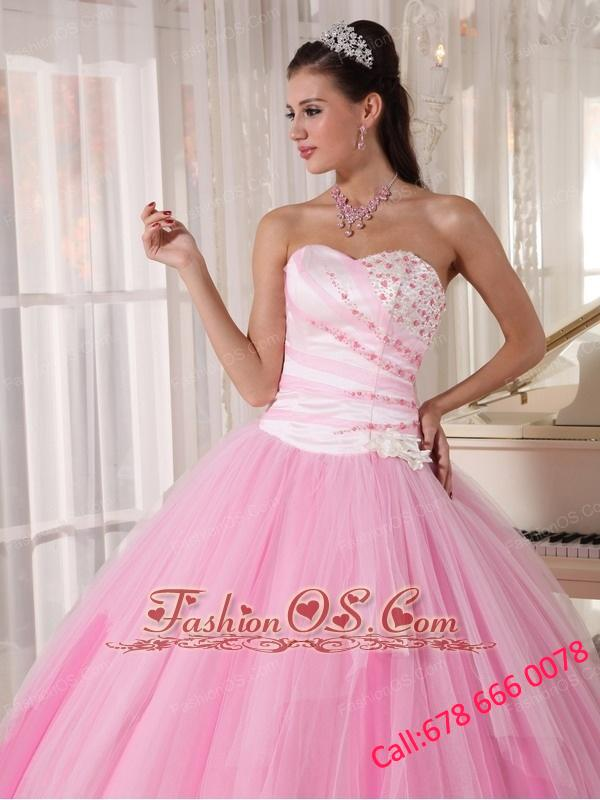 Perfect Pink Quinceanera Dress Sweetheart Tulle Beading