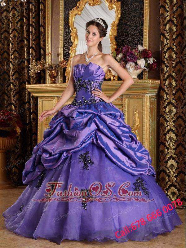 Perfect Purple Quinceanera Dress Strapless  Organza Appliques A-Line / Princess