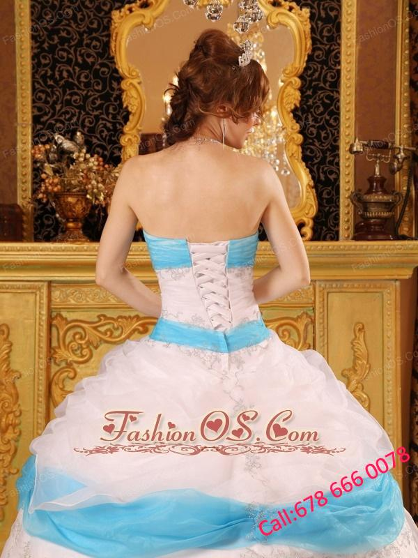 Perfect White and Aqua Quinceanera Dress Strapless Appliques Satin and Organza Ball Gown